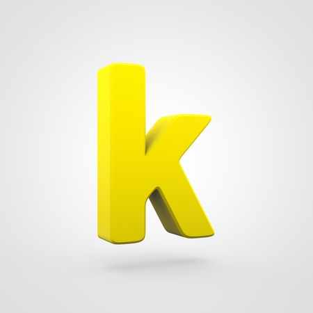 Plastic letter K lowercase. 3D render yellow plastic font isolated on white background.