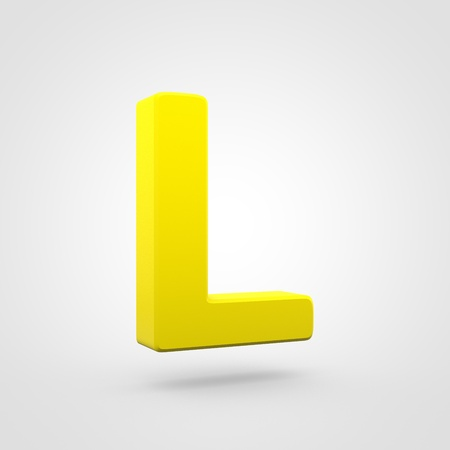 Plastic letter L uppercase. 3D render yellow plastic font isolated on white background.