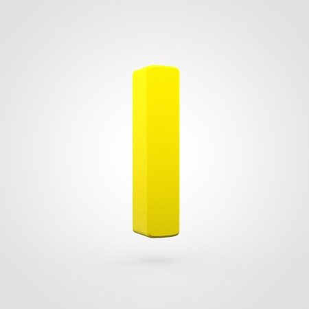 Plastic letter L lowercase. 3D render yellow plastic font isolated on white background.