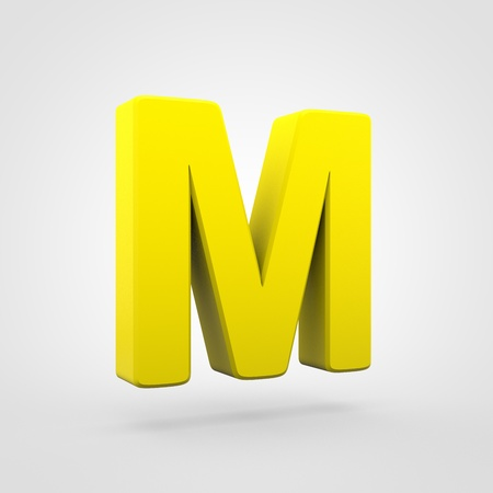 Plastic letter M uppercase. 3D render yellow plastic font isolated on white background.