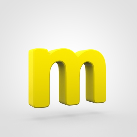 Plastic letter M lowercase. 3D render yellow plastic font isolated on white background.