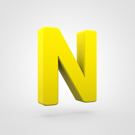 Plastic letter N uppercase. 3D render yellow plastic font isolated on white background.