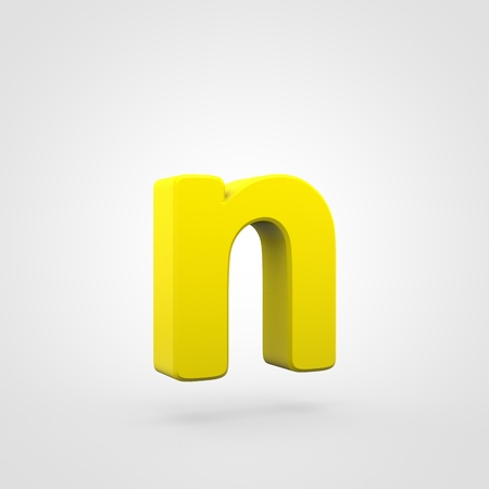 Plastic letter N lowercase. 3D render yellow plastic font isolated on white background.