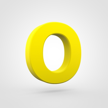 Plastic letter O uppercase. 3D render yellow plastic font isolated on white background. Stock Photo