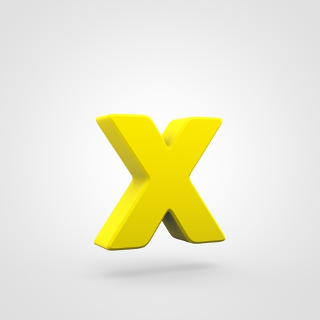 Plastic letter X lowercase. 3D render yellow plastic font isolated on white background.