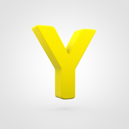 Plastic letter Y uppercase. 3D render yellow plastic font isolated on white background. Stock Photo