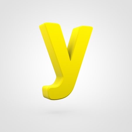 Plastic letter Y lowercase. 3D render yellow plastic font isolated on white background.