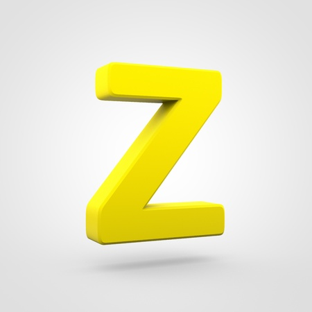 Plastic letter Z uppercase. 3D render yellow plastic font isolated on white background. Stock Photo
