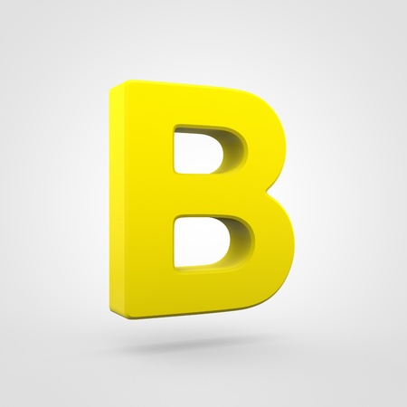 Plastic letter B uppercase. 3D render yellow plastic font isolated on white background.