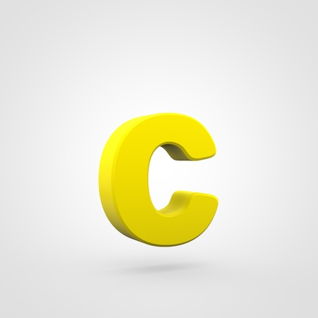 Plastic letter C lowercase. 3D render yellow plastic font isolated on white background.