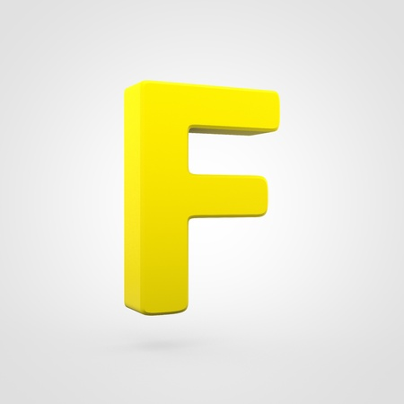 Plastic letter F uppercase. 3D render yellow plastic font isolated on white background.
