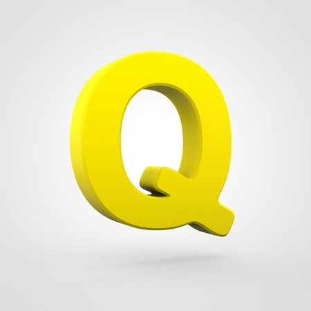 Plastic letter Q uppercase. 3D render yellow plastic font isolated on white background.