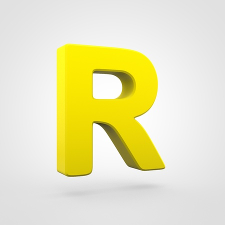 Plastic letter R uppercase. 3D render yellow plastic font isolated on white background. Stock Photo