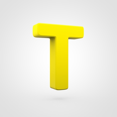 Plastic letter T uppercase. 3D render yellow plastic font isolated on white background.