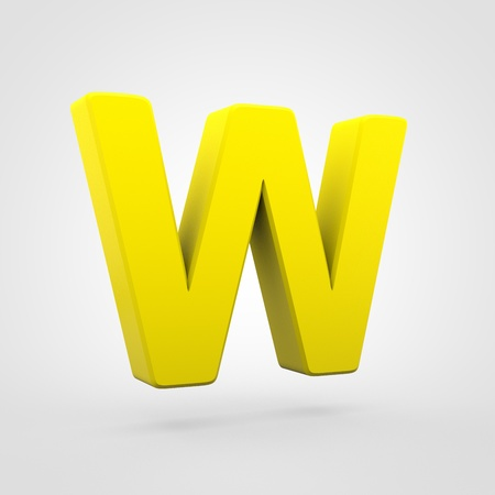 Plastic letter W uppercase. 3D render yellow plastic font isolated on white background. Stock Photo