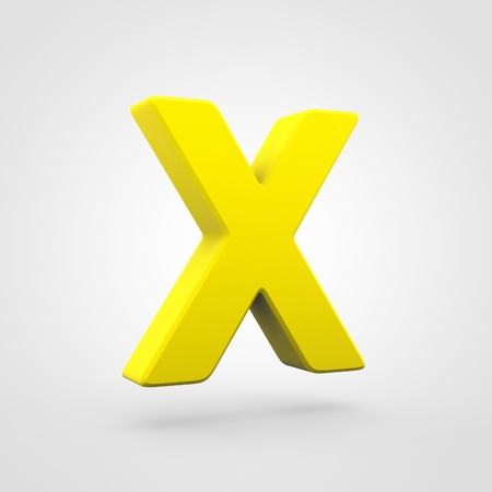 Plastic letter X uppercase. 3D render yellow plastic font isolated on white background.
