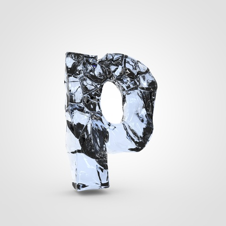 Ice letter P lowercase. 3D render cracked ice font isolated on white background. Stock Photo