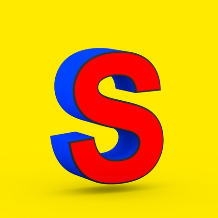 Superhero letter S uppercase. 3D render of stylized retro red and blue font isolated on yellow background.