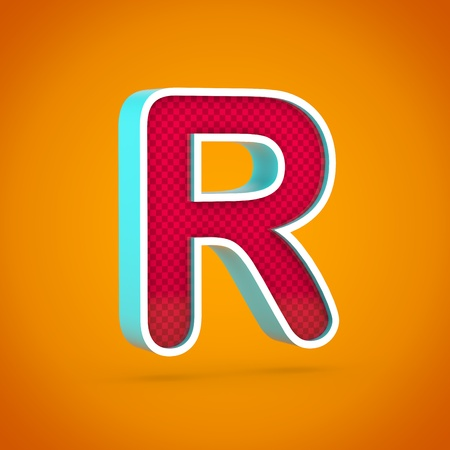 Red letter R uppercase. 3D render red font with carbon fiber texture isolated on hot orange background.
