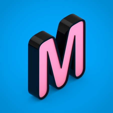 Black letter M uppercase with pink neon light. 3D render isometric font isolated on blue background. Stock Photo
