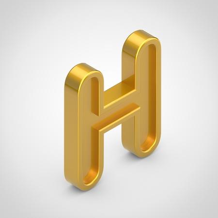 Golden letter H uppercase. 3D rendering isometric embossed font isolated on white background. Stock Photo