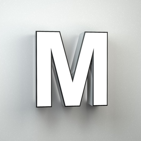Wall sign letter M uppercase. 3D render white neon font isolated on white wall.