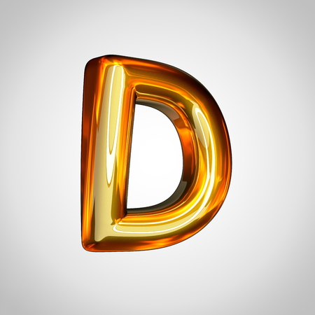 Golden letter D uppercase. 3d render gold font with fire reflection isolated on white background