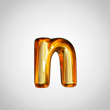 Golden letter N lowercase. 3d render gold font with fire reflection isolated on white background