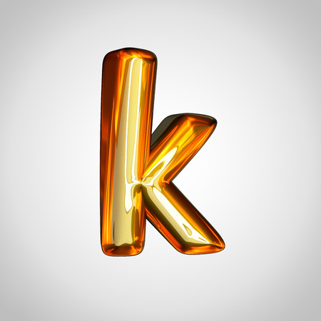 Golden letter K lowercase. 3d render gold font with fire reflection isolated on white background