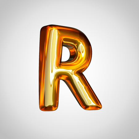 Golden letter R uppercase. 3d render gold font with fire reflection isolated on white background