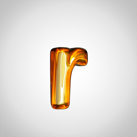 Golden letter R lowercase. 3d render gold font with fire reflection isolated on white background
