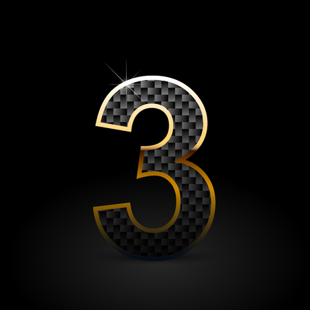 Black carbon fiber number 3. Carbon vector font with gold outline isolated on black background Vettoriali
