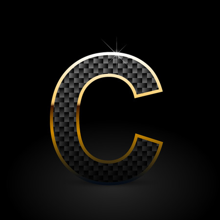 Letra C mayúscula de fibra de carbono negra. Fuente de vector de carbono con contorno dorado aislado sobre fondo negro