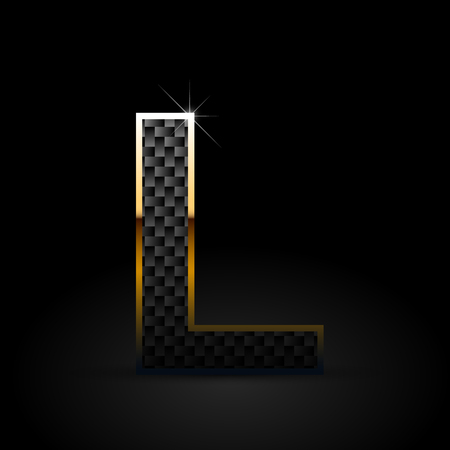 Black carbon fiber letter L uppercase. Carbon vector font with gold outline isolated on black background