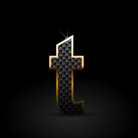 Black carbon fiber letter T lowercase. Carbon vector font with gold outline isolated on black background