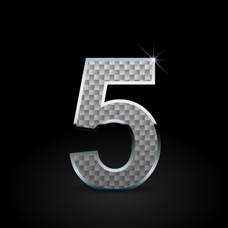 White carbon fiber number 5. Carbon vector font with chrome outline isolated on black background
