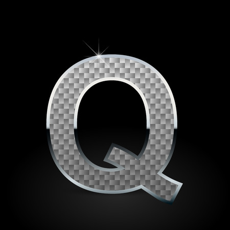 White carbon fiber letter Q uppercase. Carbon vector font with chrome outline isolated on black background