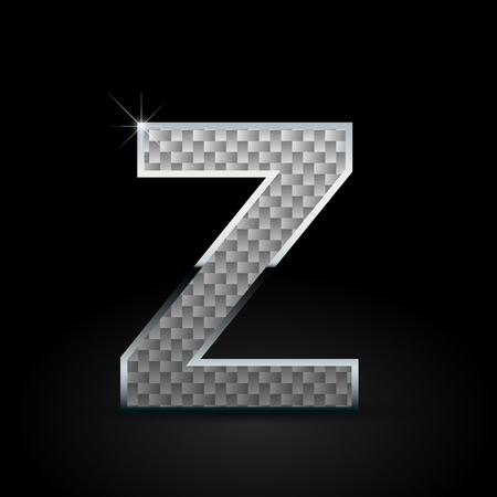 White carbon fiber letter Z uppercase. Carbon vector font with chrome outline isolated on black background Ilustração