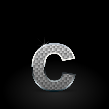White carbon fiber letter C lowercase. Carbon vector font with chrome outline isolated on black background Ilustrace