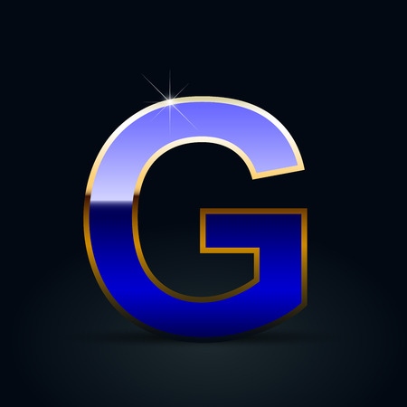 Blue glossy casino letter G uppercase. Vector font with golden outline isolated on black background Illustration