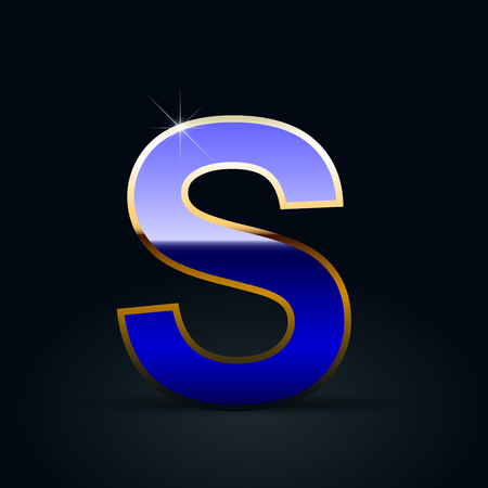 Blue glossy casino letter S uppercase. Vector font with golden outline isolated on black background