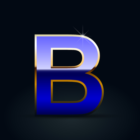 Blue glossy casino letter B uppercase. Vector font with golden outline isolated on black background Ilustração