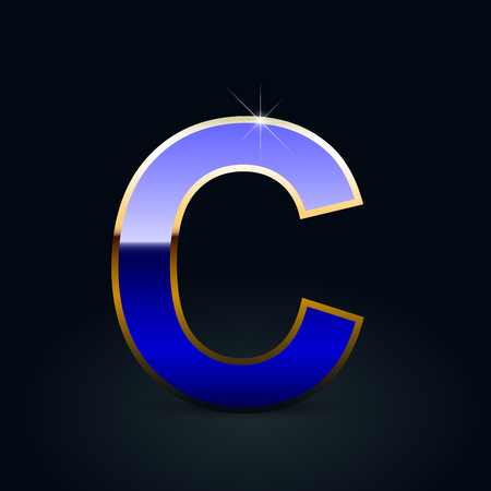 Blue glossy casino letter C uppercase. Vector font with golden outline isolated on black background
