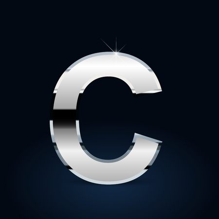 Chrome letter C uppercase. Vector font isolated on black background Ilustração