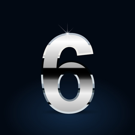 Chrome number 6. Vector font isolated on black background