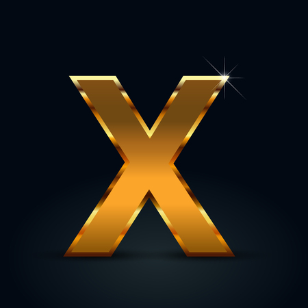 Dark gold letter X uppercase. Vector font isolated on black background