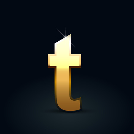 Golden letter T lowercase. Vector font isolated on black background