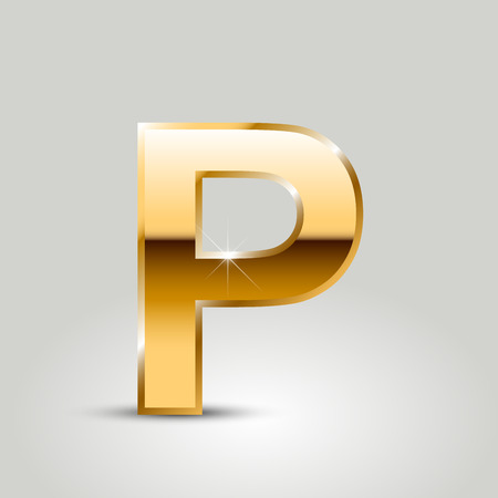 Golden letter P uppercase. Vector font isolated on white background