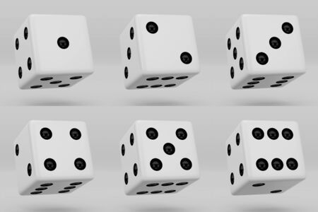 White dice with black dots hanging in half turn showing different numbers. 3d render dice cubes isolated on white background
