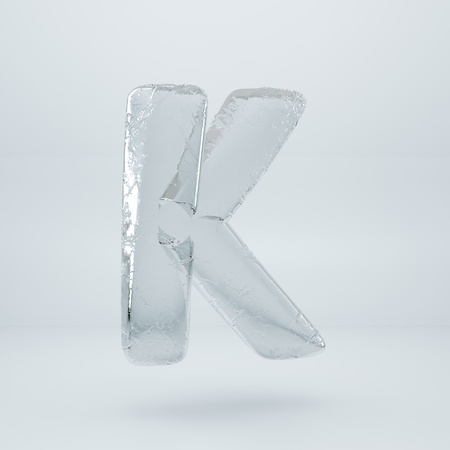 Ice letter K uppercase. 3D render ice font with cracks isolated on white background 写真素材